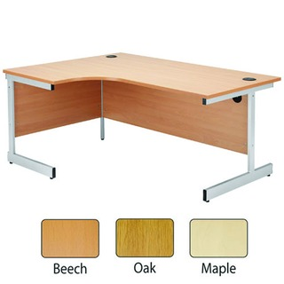 Beech/Silver 1200mm Left Hand Radial Cantilever Desk