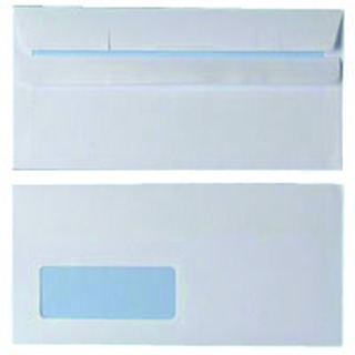 DL Window Envelope 90gsm White Self Seal (1000 Pack)