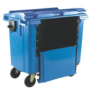 Blue 1100 Litre Wheeled Bin With Drop Down Front and Flat Lid 377974
