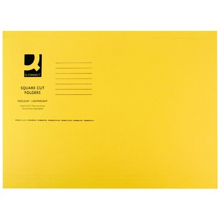 Yellow Square Cut Folder Lightweight 180gsm Foolscap (100 Pack)