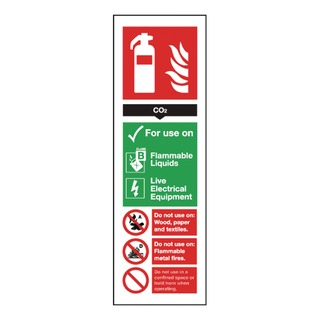 fety Sign Carbon Dioxide Fire Extinguisher 280x90mm Self-Adhesive F203/