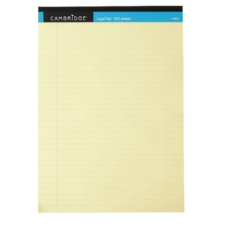 Everyday A4 Yellow Legal Pad 100 Pages Ruled Margin (10 Pack) 10008017