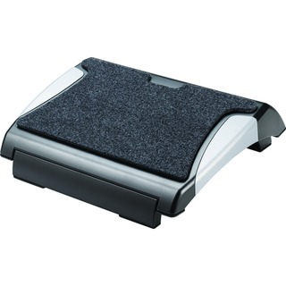 Black and Silver Foot Rest With Carpet