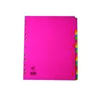 A4 Extra Wide Bright 20-Part Dividers (10 Pack)