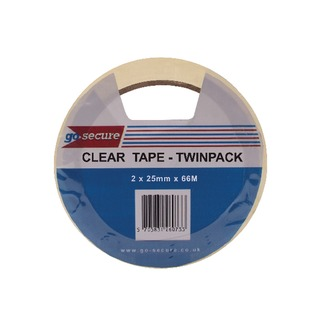 Secure Twin Pack 25mm x 66m Clear Tape (6 Pack)