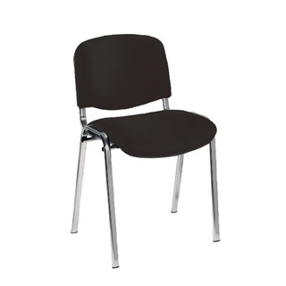 Multipurpose Stacking Chair Chrome Frame Charcoal Upholstery
