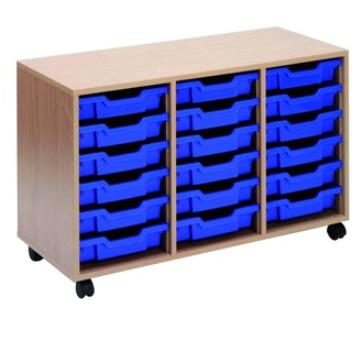 Mobile Beech Storage Unit 18 Blue Trays