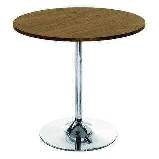 Walnut and Chrome Small Bistro Trumpet Table