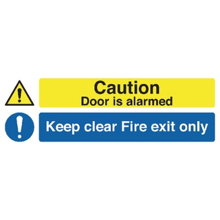 fety Sign 150x450mm Caution Door is Alarmed Keep Clear Fire Exit Only Self-Adhesive