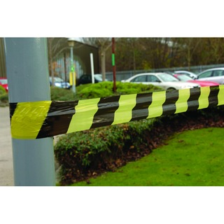 Black/Yellow Striped Tape Barrier 500m 304927